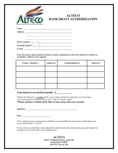 ALTECO Bank Draft Authorization